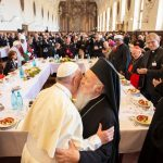 Pope Francis embraces Bartholomew, the Ecumenical Patriarch of Constantinople, on arriving in Assisi for the World Day of Prayer for Peace, Sept. 20, 2016. Credit: L'Osservatore Romano.