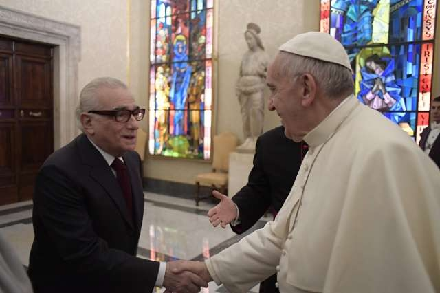 Pope Francis meets Martin Scorsese, director of 'Silence,' at Vatican