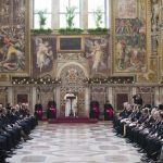 Pope Francis speaks to the Diplomatic Corps Accredited to the Holy See Jan. 11, 2015. Credit: L'Osservatore Romano.