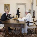 Pope Francis meets with President Donald Trump in the Apostolic Palace May 24, 2017. Credit: L'Osservatore Romano.